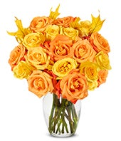 One and a Half Dozen Orange and Yellow Roses with Oak Leaves