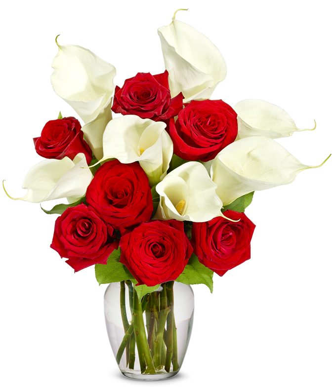 Red Rose & Calla Lily Bouquet - Deluxe