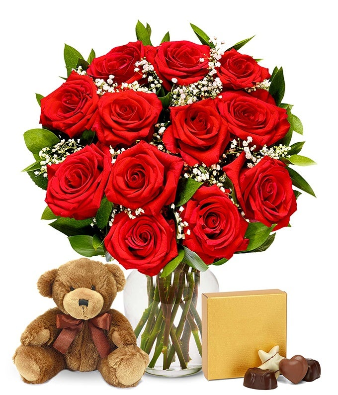 One dozen red roses delivered with Valentine chocolates and teddy bear