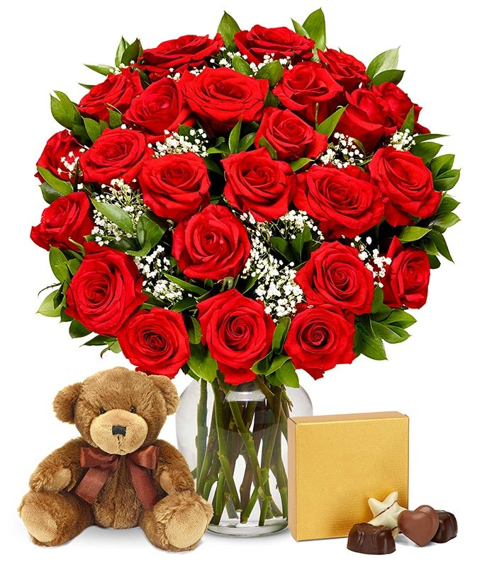 Two dozen red roses delivered with teddy bear and chocolates