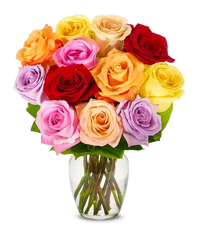 Dozen Rainbow Roses with Birthday Vase