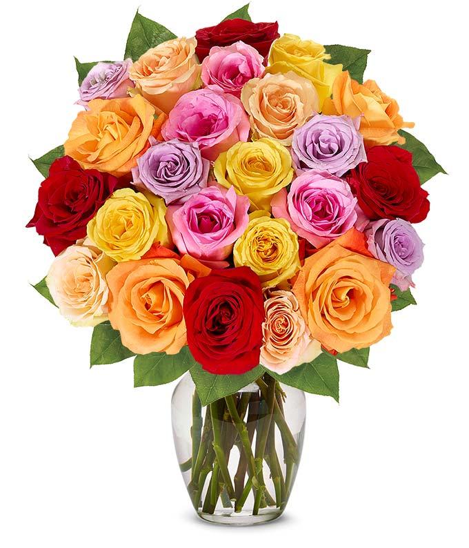 Two Dozen Valentine's Day Rainbow Roses
