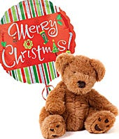 Christmas balloon with plush teddy bear for delivery