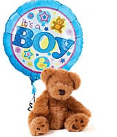 New baby boy balloon with teddy bear