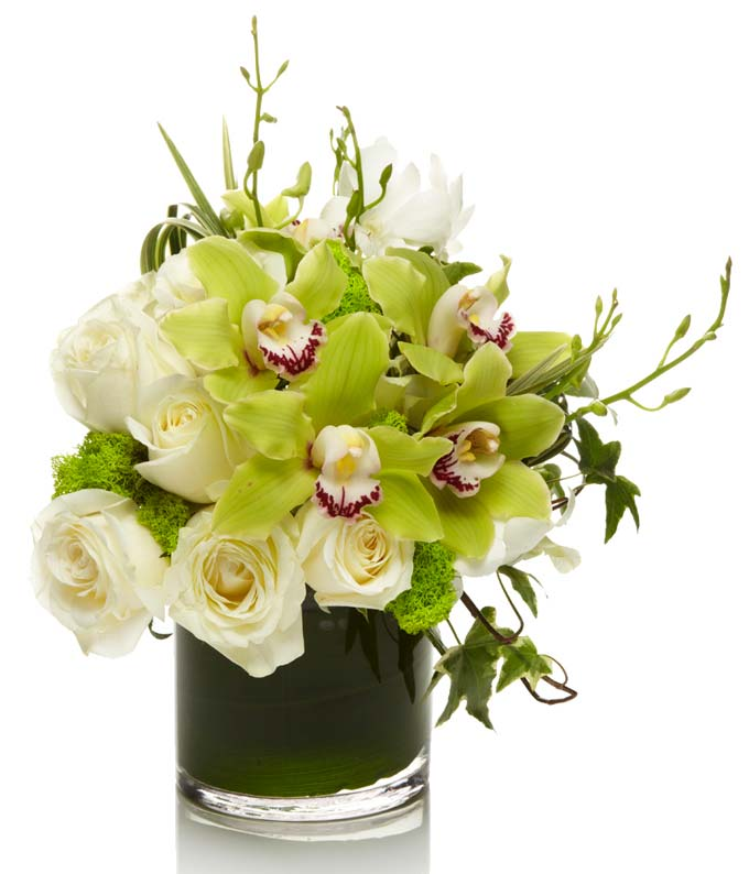Ivory and Emerald Orchid Bouquet