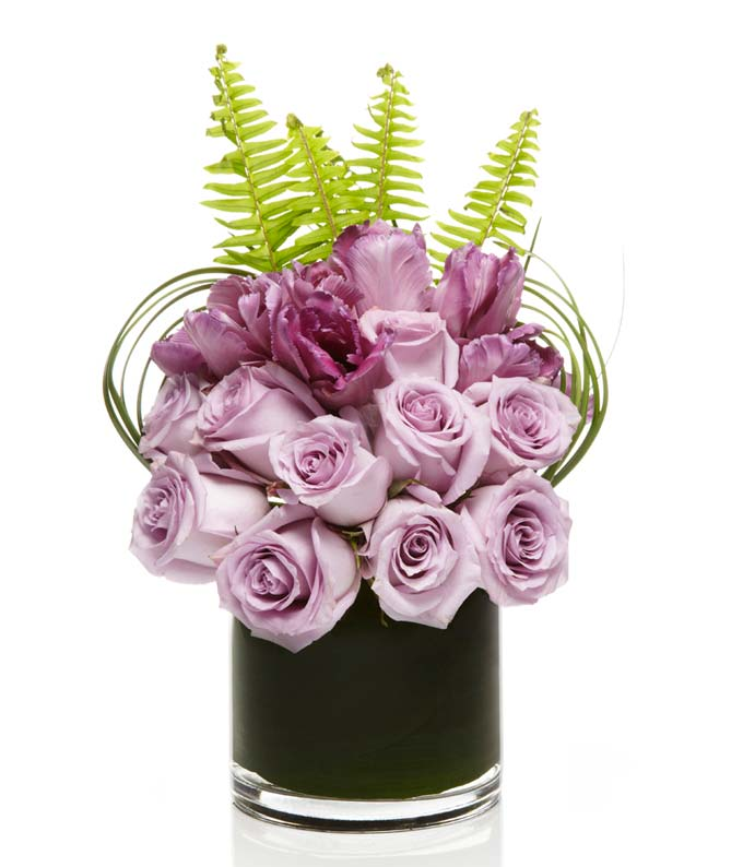 Purple rose and purple tulip arrangement