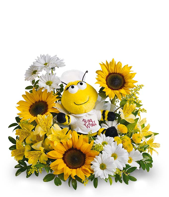 Bee Well Bouquet: Daisies, Get Well Flowers-FromYouFlowers.com