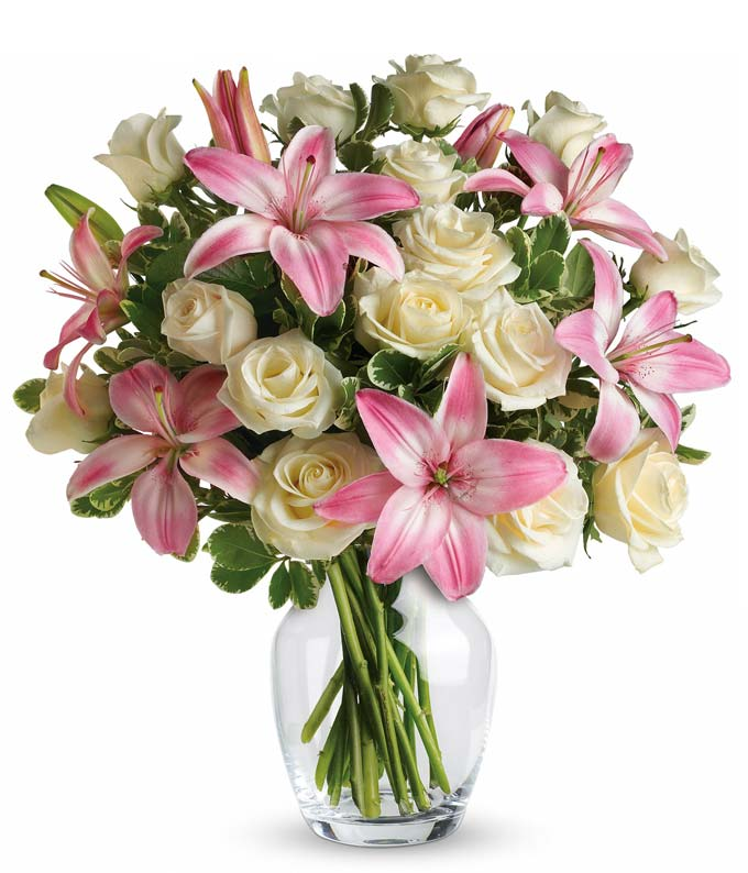 Pink Lily & White Rose Large Bouquet