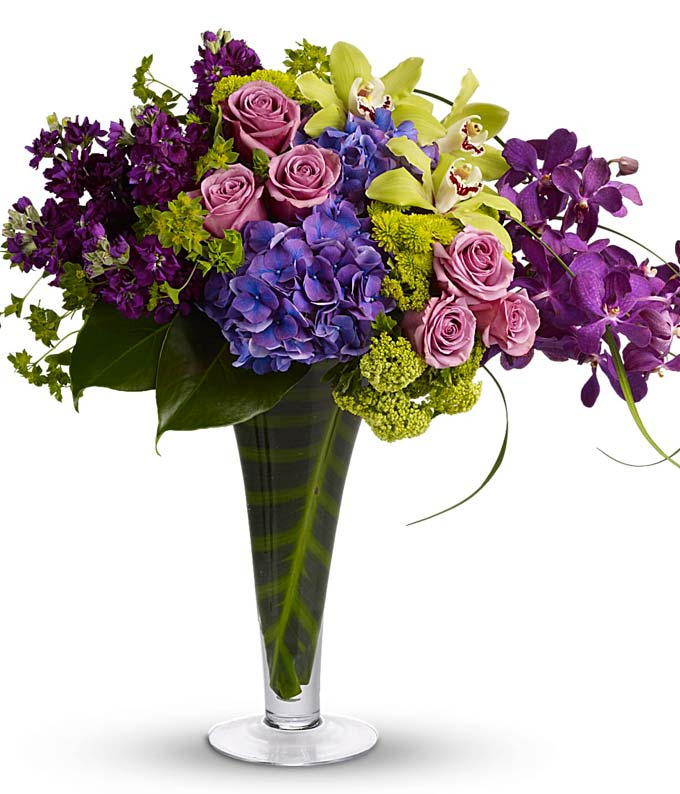 Purple Orchids and Purple Rose bouquet