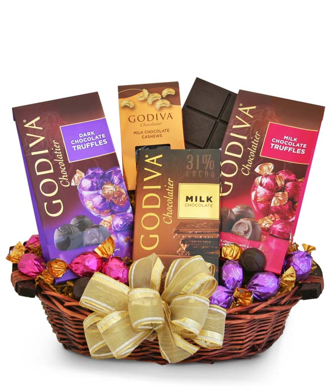 Godiva candy bar basket
