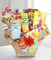 Birthday candy basket with teddy bear