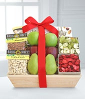 Fresh fruit, dried fruit and nuts in gift basket