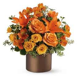 Orange roses and orange lilies