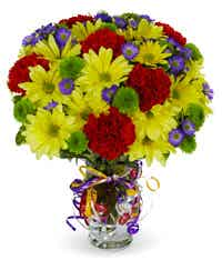 Yellow daisies with red carnations and green poms