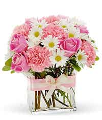 Pink roses with white daisies and pink carnations