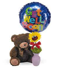 Get well soon balloon arrangement with teddy bear