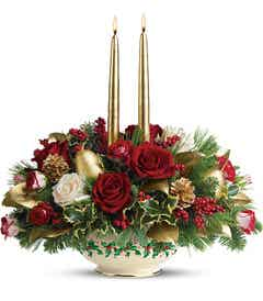 Winter flower centerpiece with gold candles