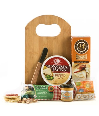 Cheese board gift basket with crackers and sausage