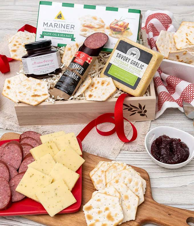 Sausage, Cheese and Crackers Basket