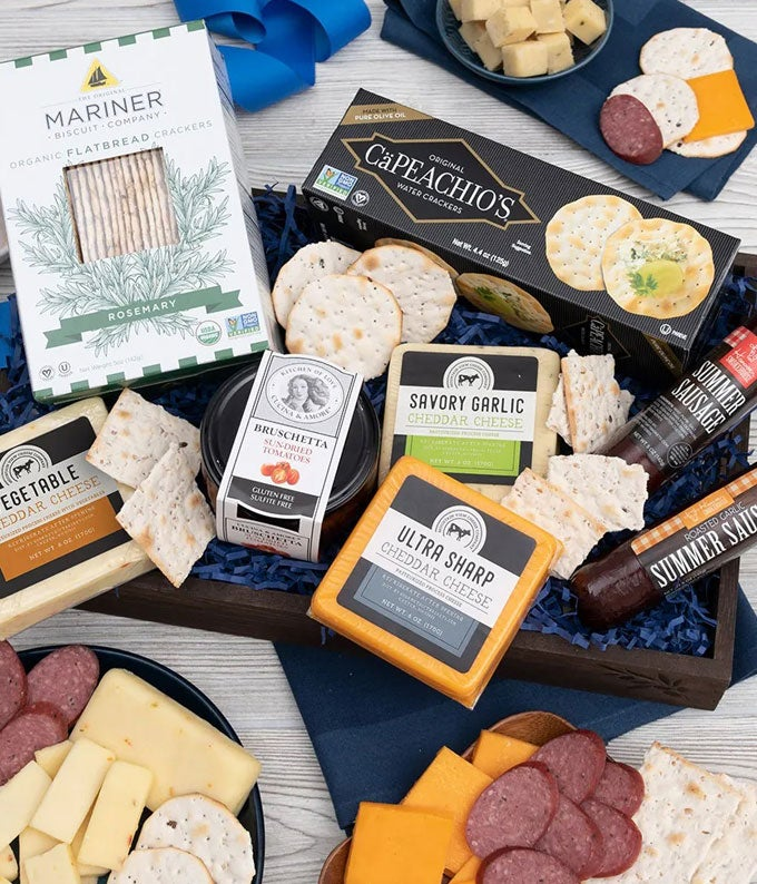 Luxury Cheese, Sausage and Crackers Basket