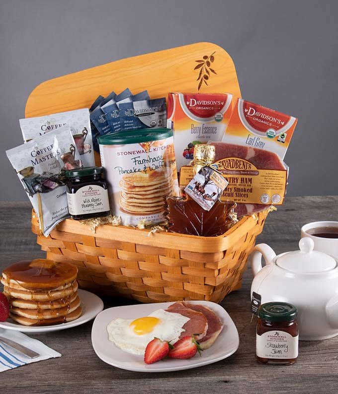 Breakfast gift delivery with package mix, coffee, syrup and more.