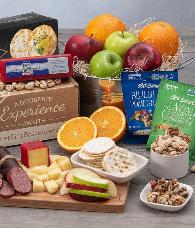 Farmer's Market fruit, cheese and sausage gift basket