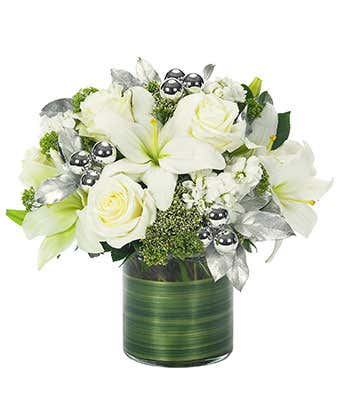 Christmas Flower Arrangements White.Holiday White Lily Rose Bouquet
