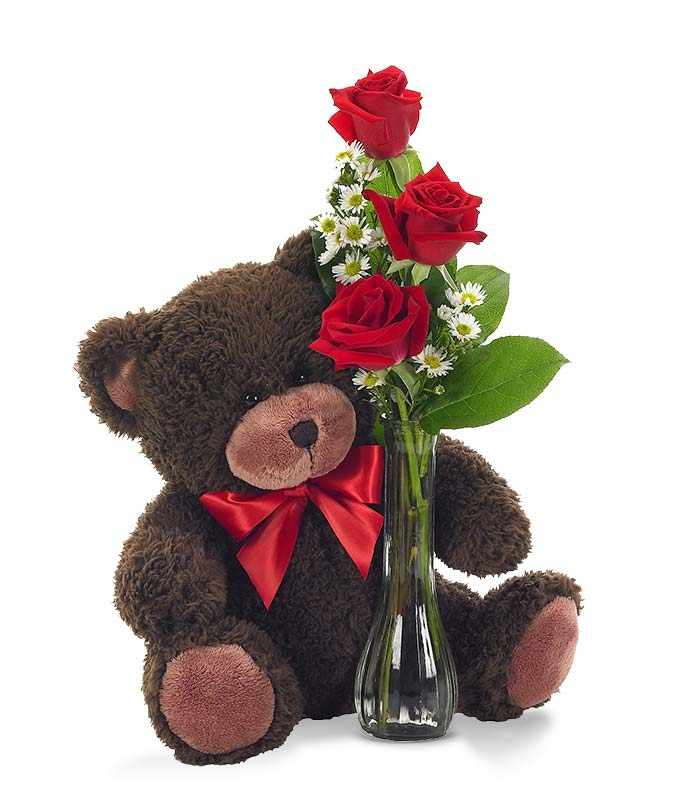 243 & Classic Bud Vase Roses with Bear