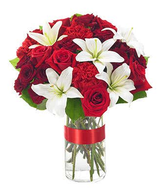 Red roses, white lilies and red carnations