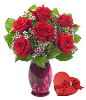 Half dozen red roses delivered with box of chocolates