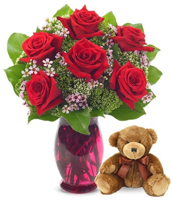6 Red Roses delivered with teddy bear