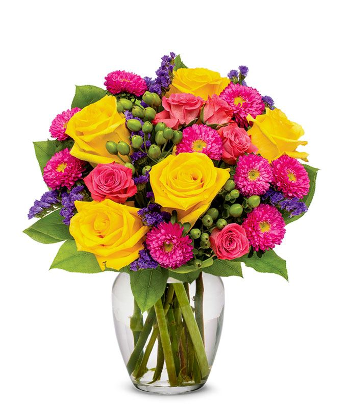 The sunrise bouquet at from you flowers yellow roses hot pink roses and asters for delivery mightylinksfo