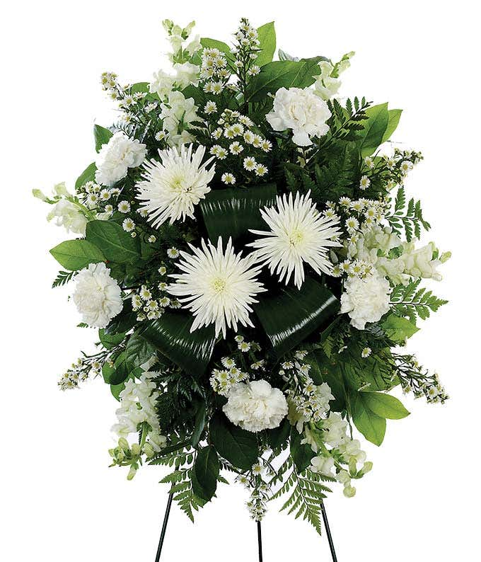 White standing spray at from you flowers funeral flowers with white lilies and white mums in standing spray mightylinksfo