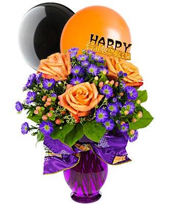 Halloween flower bouquet with halloween balloons