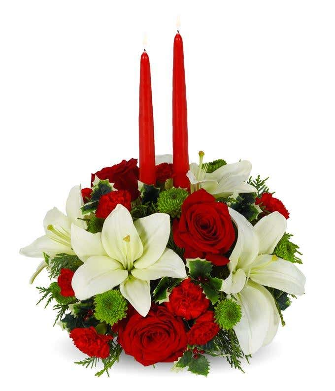 Christmas Table Arrangements Flowers.Christmas Floral Centerpiece