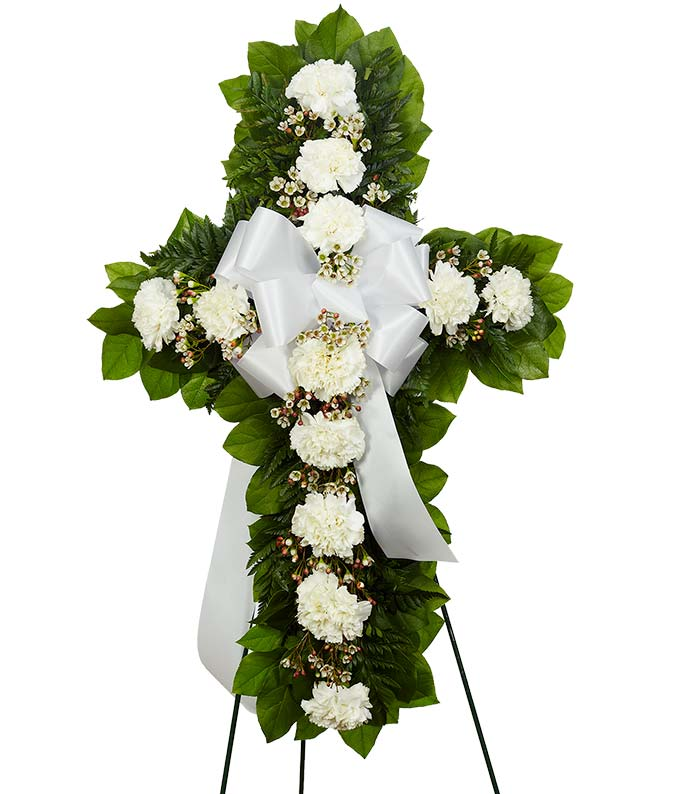 Sympathy standing cross with white flowers