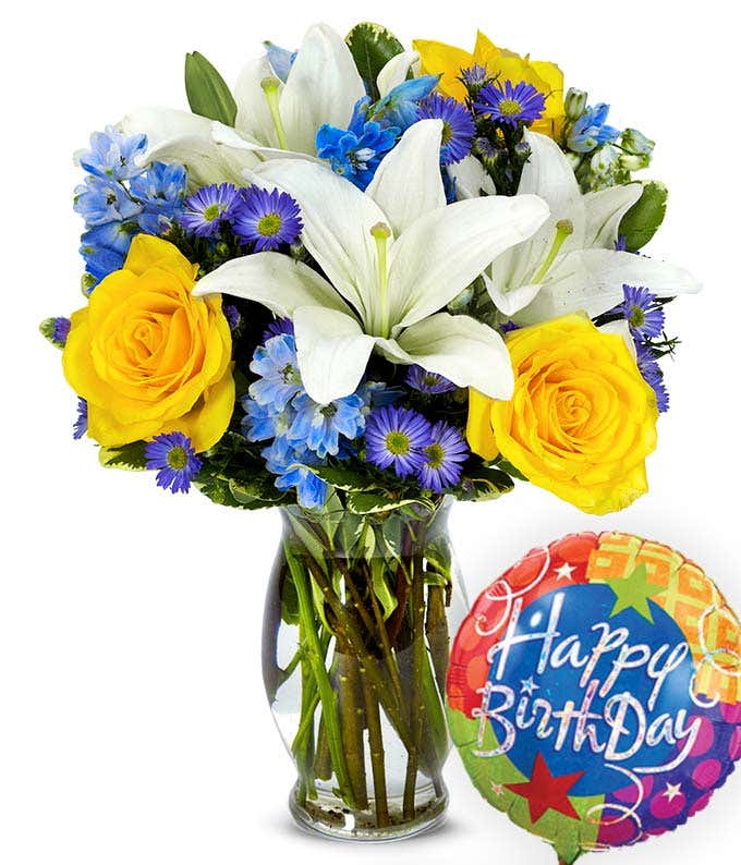 Blue and yellow flowers with a birthday balloon