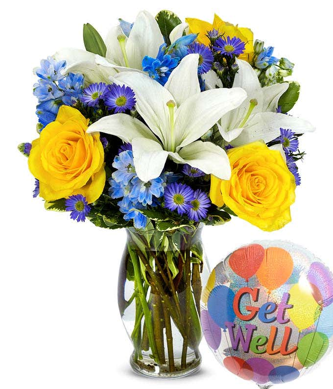 Get well soon balloon with mixed flowers