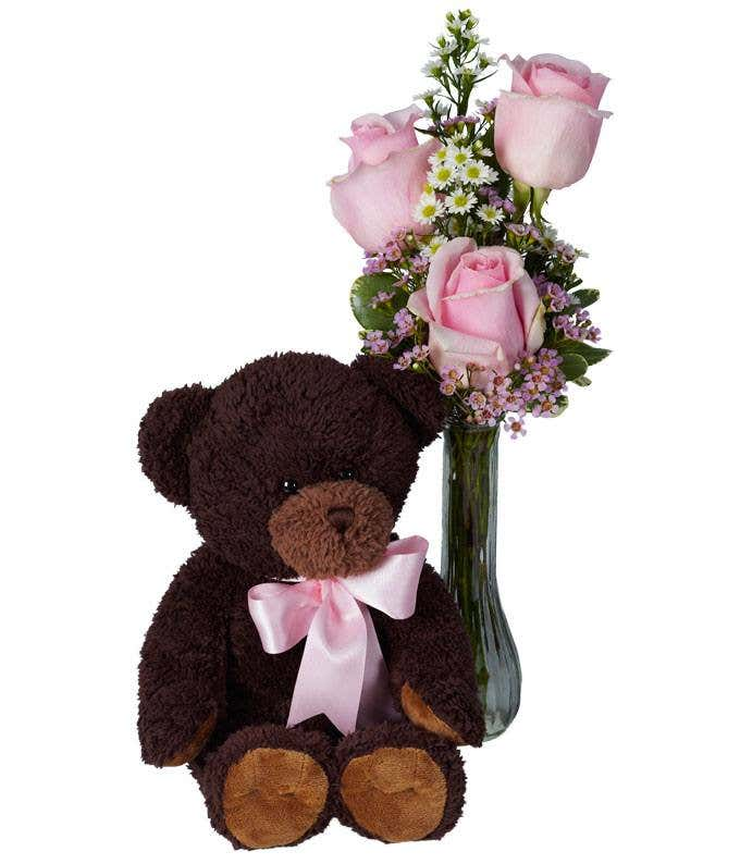 Light pink roses delivered with a teddy bear