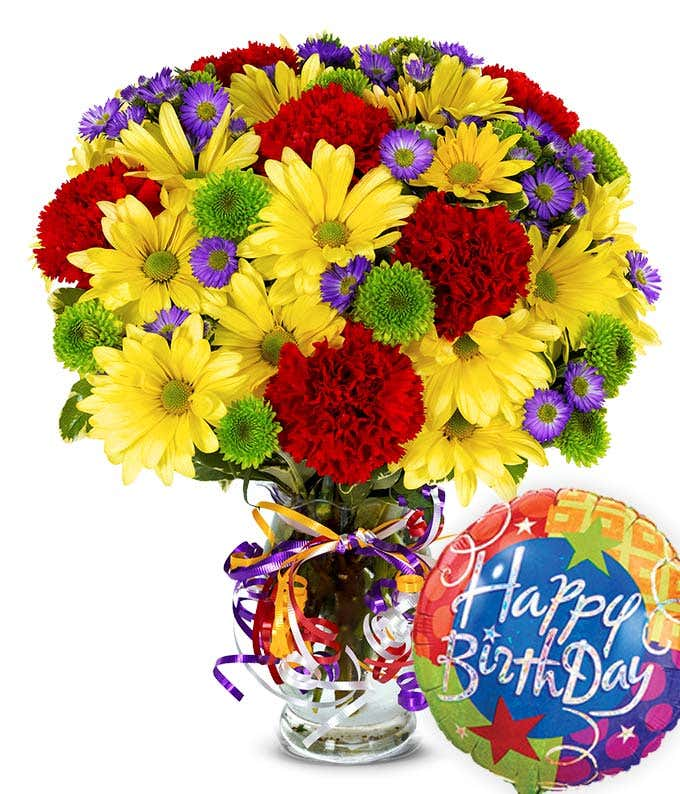 Birthday balloon delivered with mixed flower bouquet