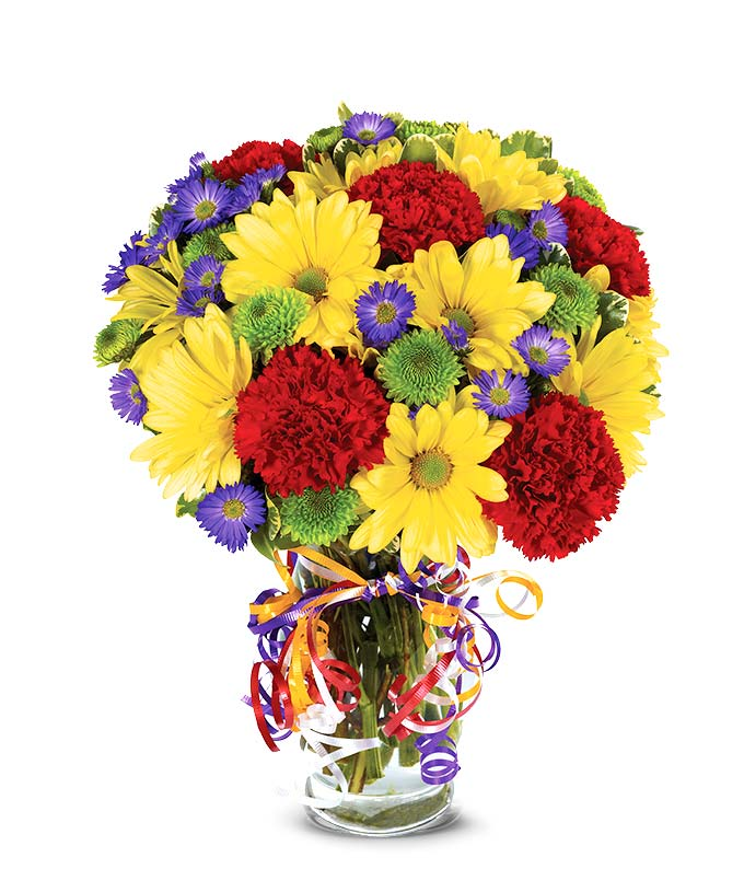 Best wishes bouquet at from you flowers yellow daisies red carnations and green button pops in a glass vase mightylinksfo