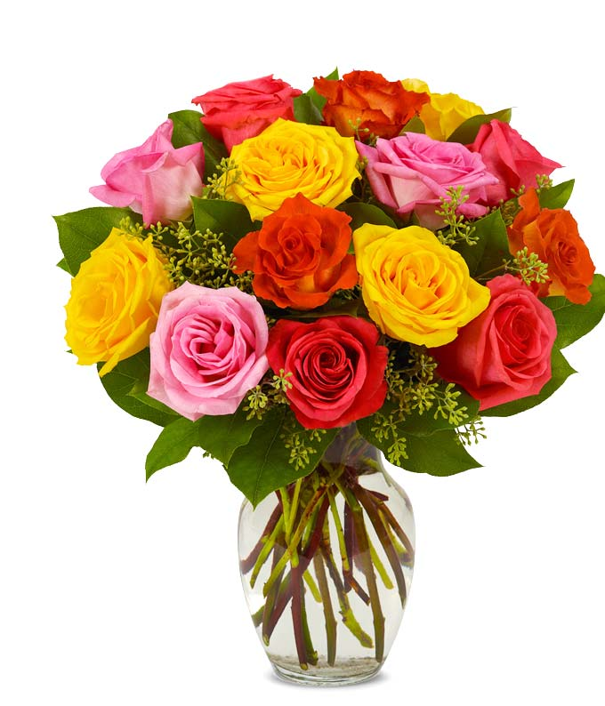 Assorted & Beautiful Bright Roses at From You Flowers
