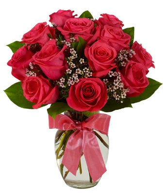 hot pink long stemmed roses in a clear glass vase - Red Garden Rose Bouquet