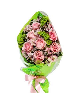 All pink rose hand tied bouquet at from you flowers all pink rose hand tied bouquet mightylinksfo