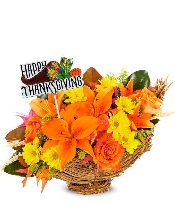 Happy Thanksgiving Harvest Cornucopia