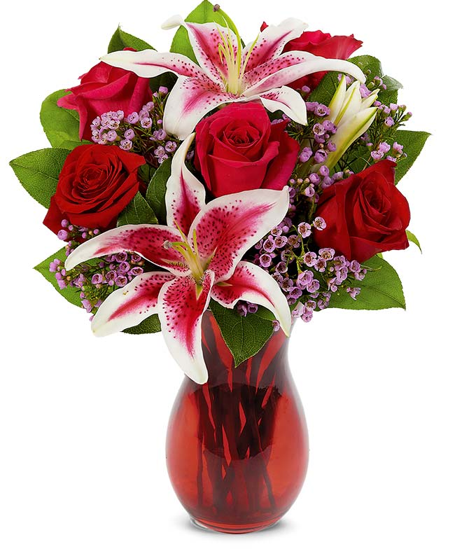Red roses and pink stargazer bouquet