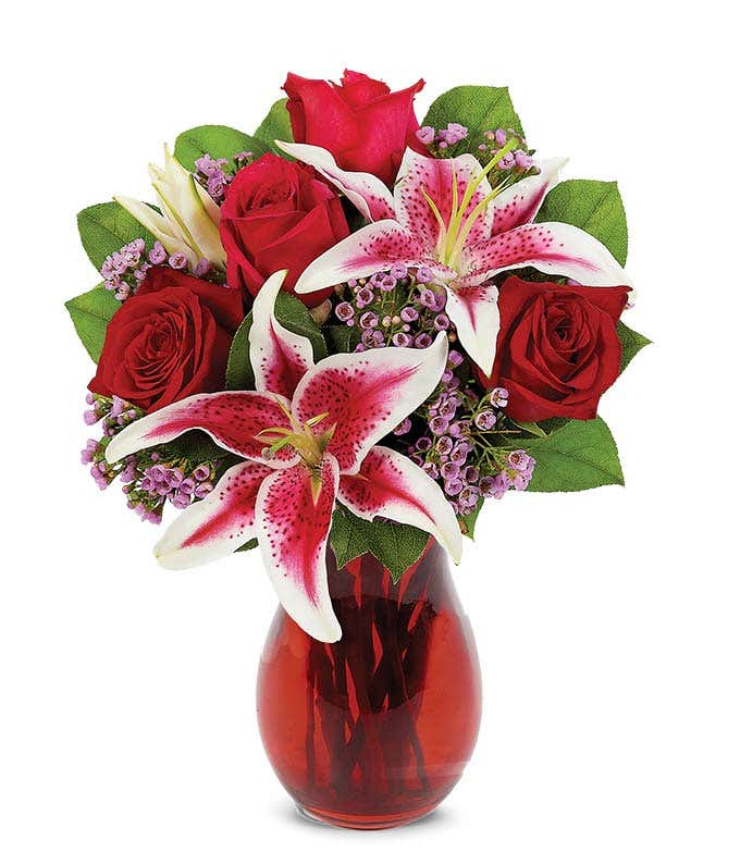 Stunning beauty at from you flowers red roses and pink stargazer bouquet mightylinksfo
