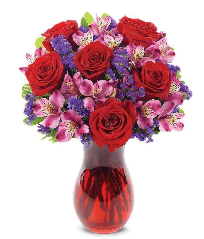 Red and purple romantic arrangement