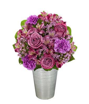 Lavender roses, purple alstroemeria and purple carnations