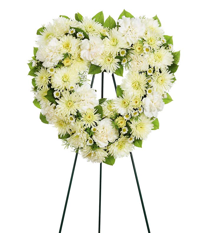 Heart shaped white flower funeral standing spray